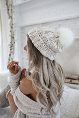 Knit Beanie Hat with Fur Pom Pom