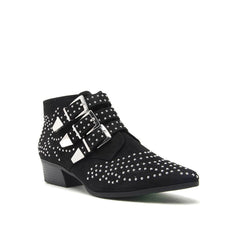 BLACK STUDDED BOOTIE - llacie