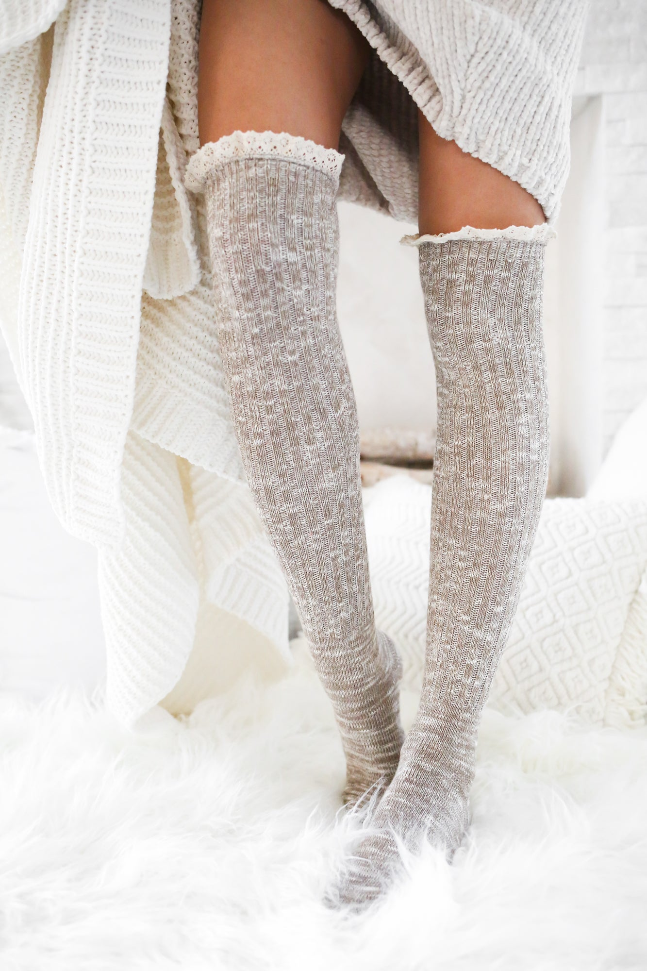 Over The Knee Socks With Lace Detail
