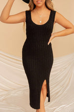 Katri Black Slit Knit Midi Dress | LLACIE