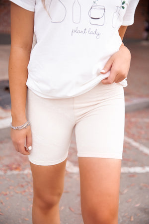 Butter Cream Biker Shorts
