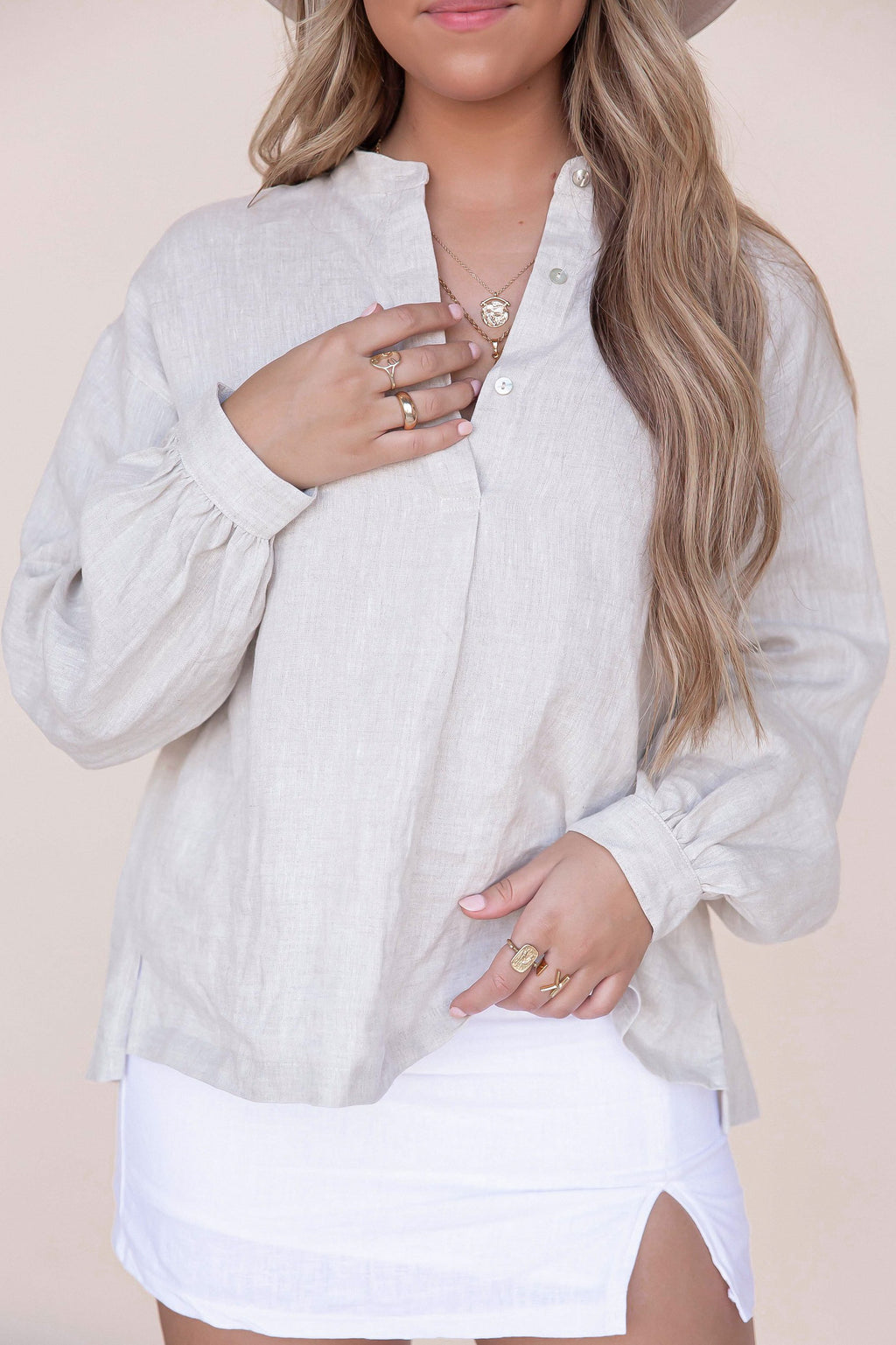 Loe Oversized Linen Long Sleeve Shirt- FINAL SALE | LLACIE