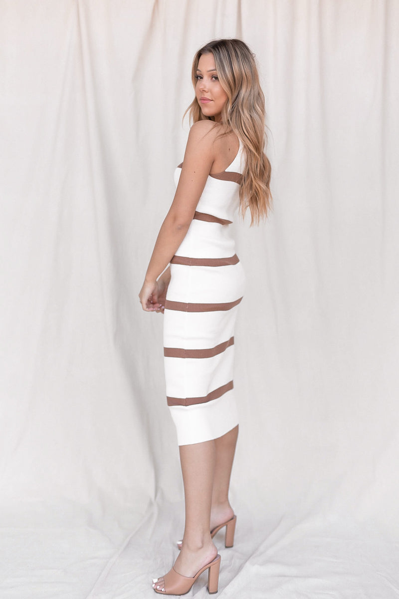 Leanna Ribbed Striped Midi Dress - LLACIE