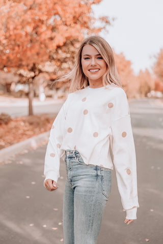 Daisy Long Sleeve Dot Sweatshirt