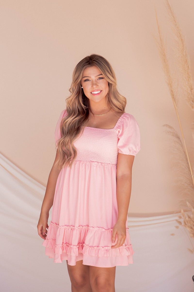 Sonya Pink Smocked Dress