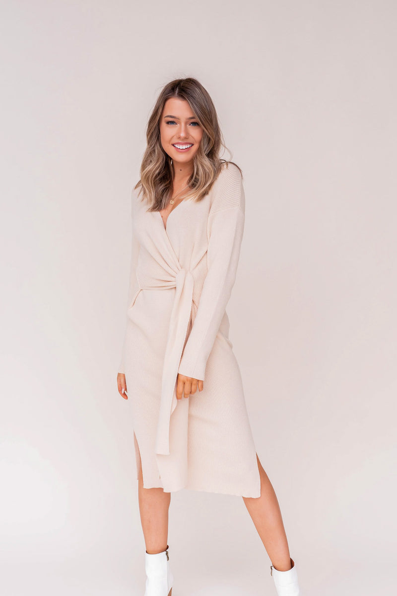 Latte Cream Wrap Dress | LLACIE