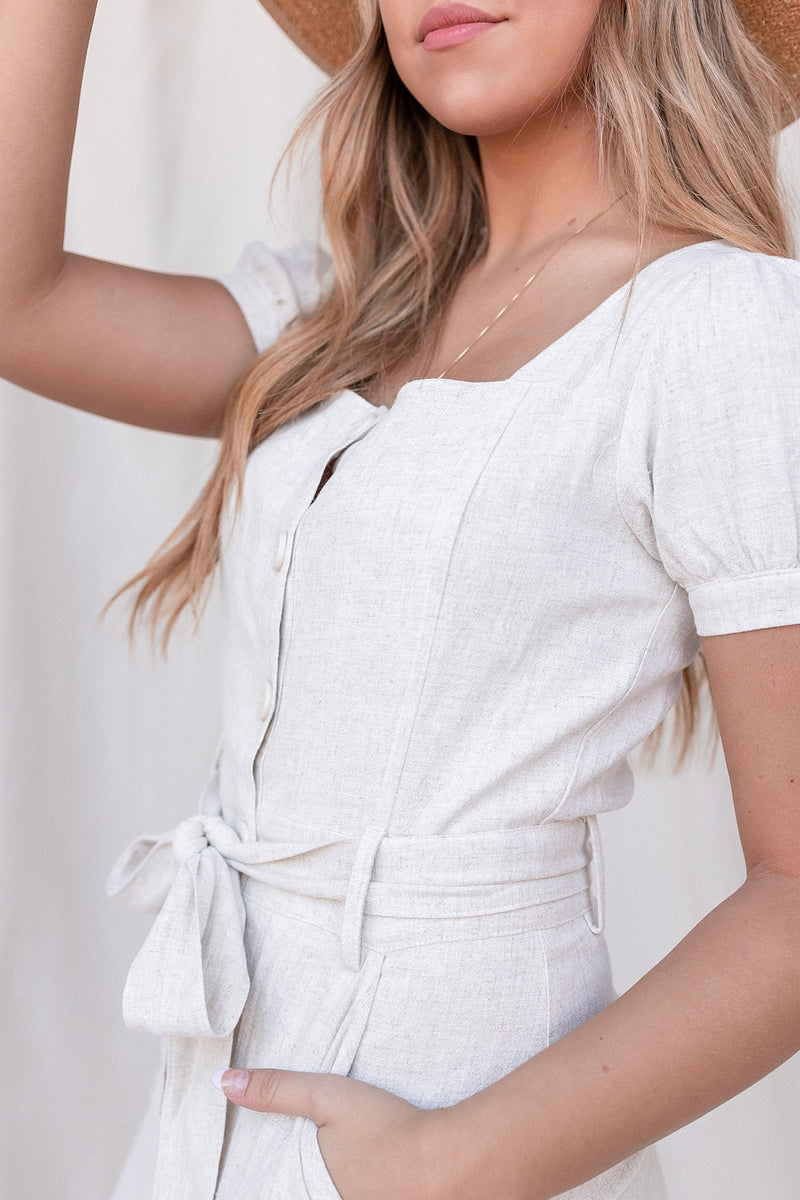 Wesley Button Up Linen Dress - LLACIE