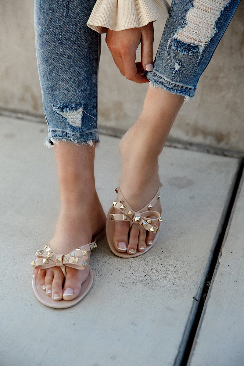 Nude Rockstud Jelly Sandal- FINAL SALE | LLACIE