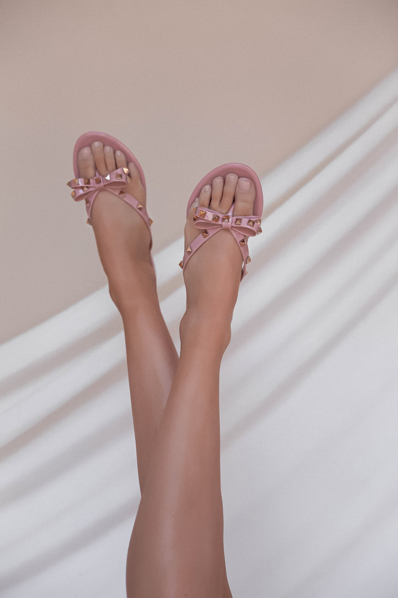 Pink Rockstud Jelly Sandal- FINAL SALE | LLACIE