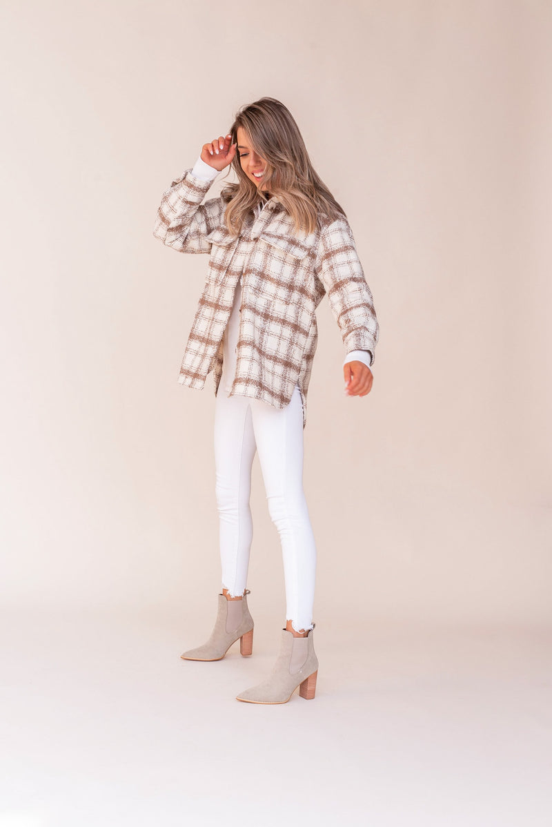Khaki Plaid Shacket | LLACIE