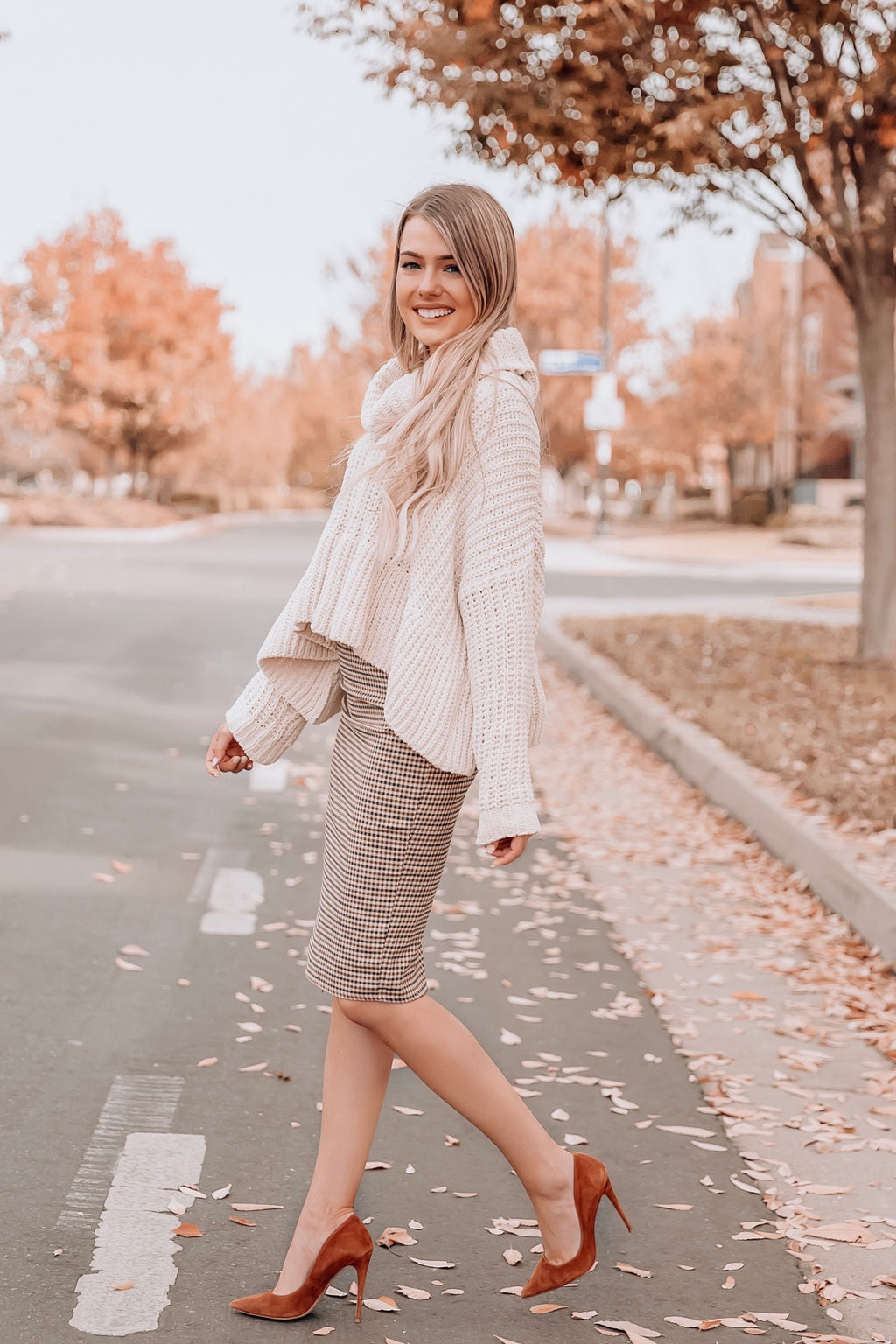 Fall Checked Pencil Skirt