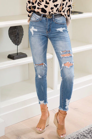 Ripped Medium Wash Jeans - llacie