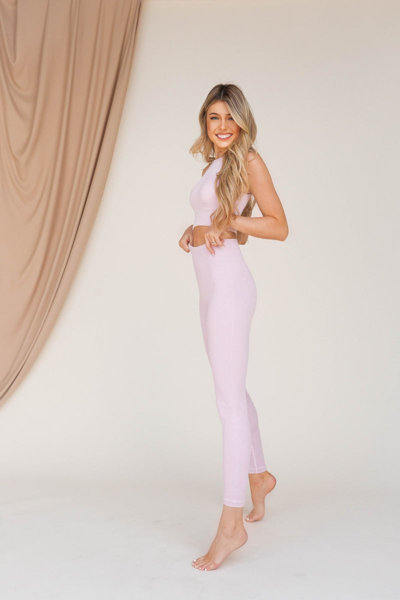Knockout Ribbed Mineral Wash High Waisted Leggings - LLACIE