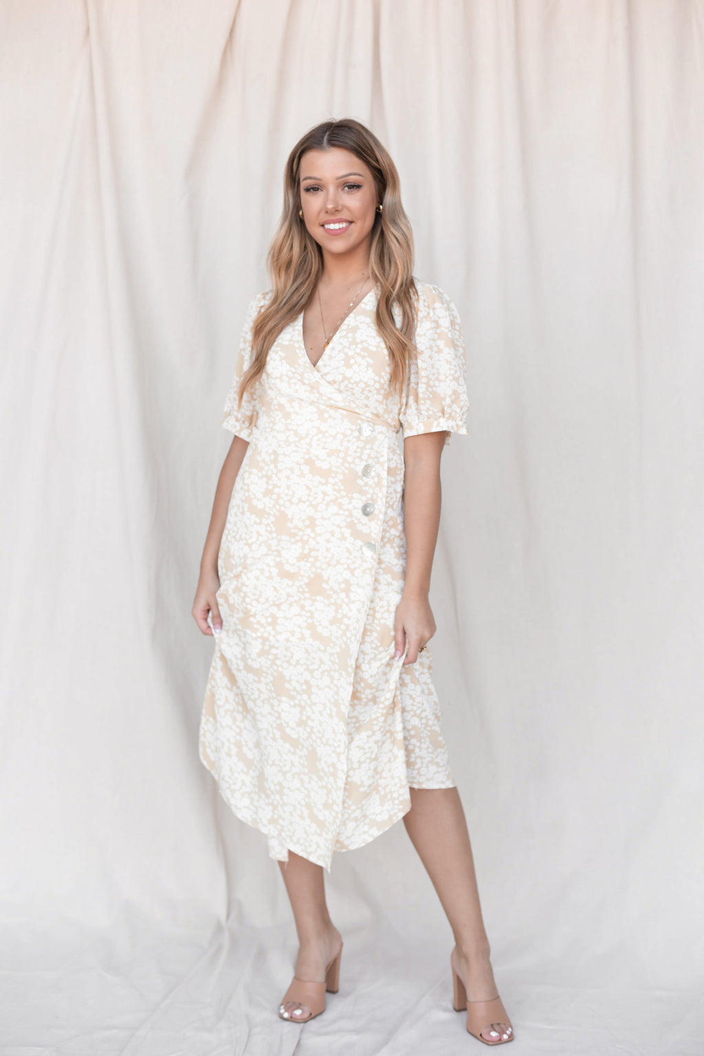 Laguna Floral Wrap Midi Dress - LLACIE