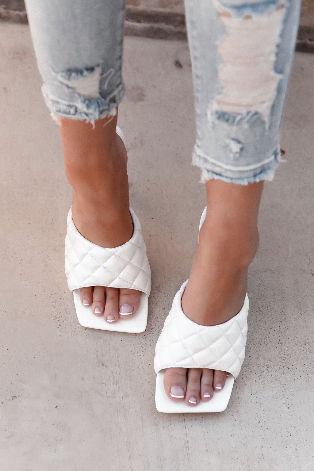 White Padded Sandals