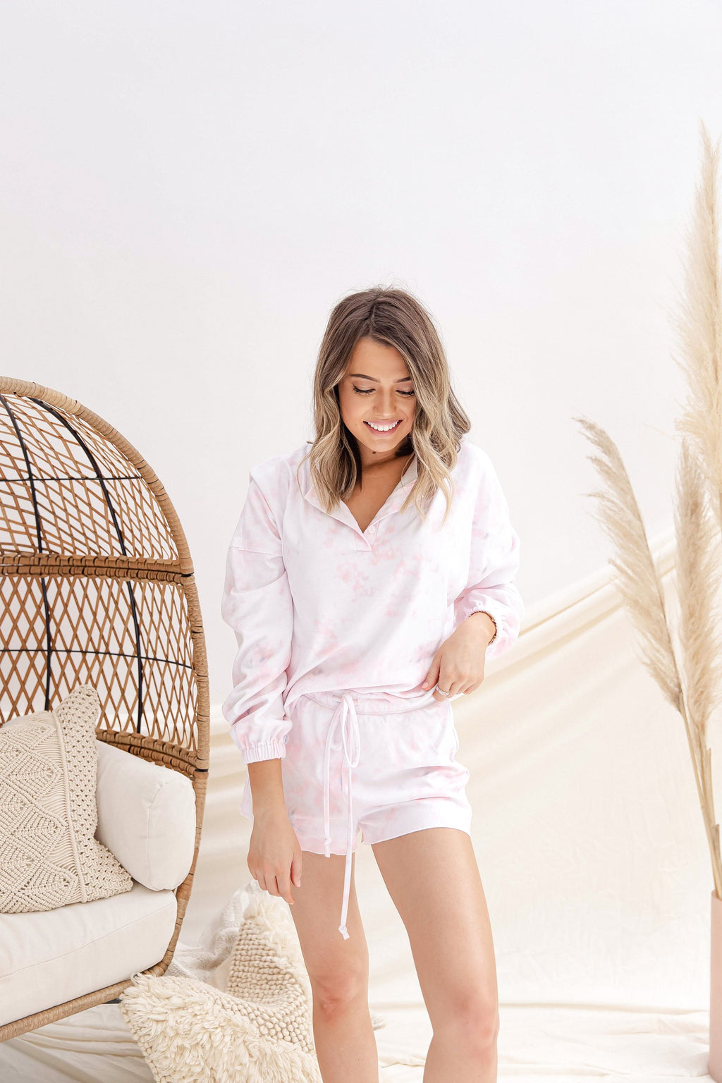 Pink Tie Dye Top and Short Lounge Set