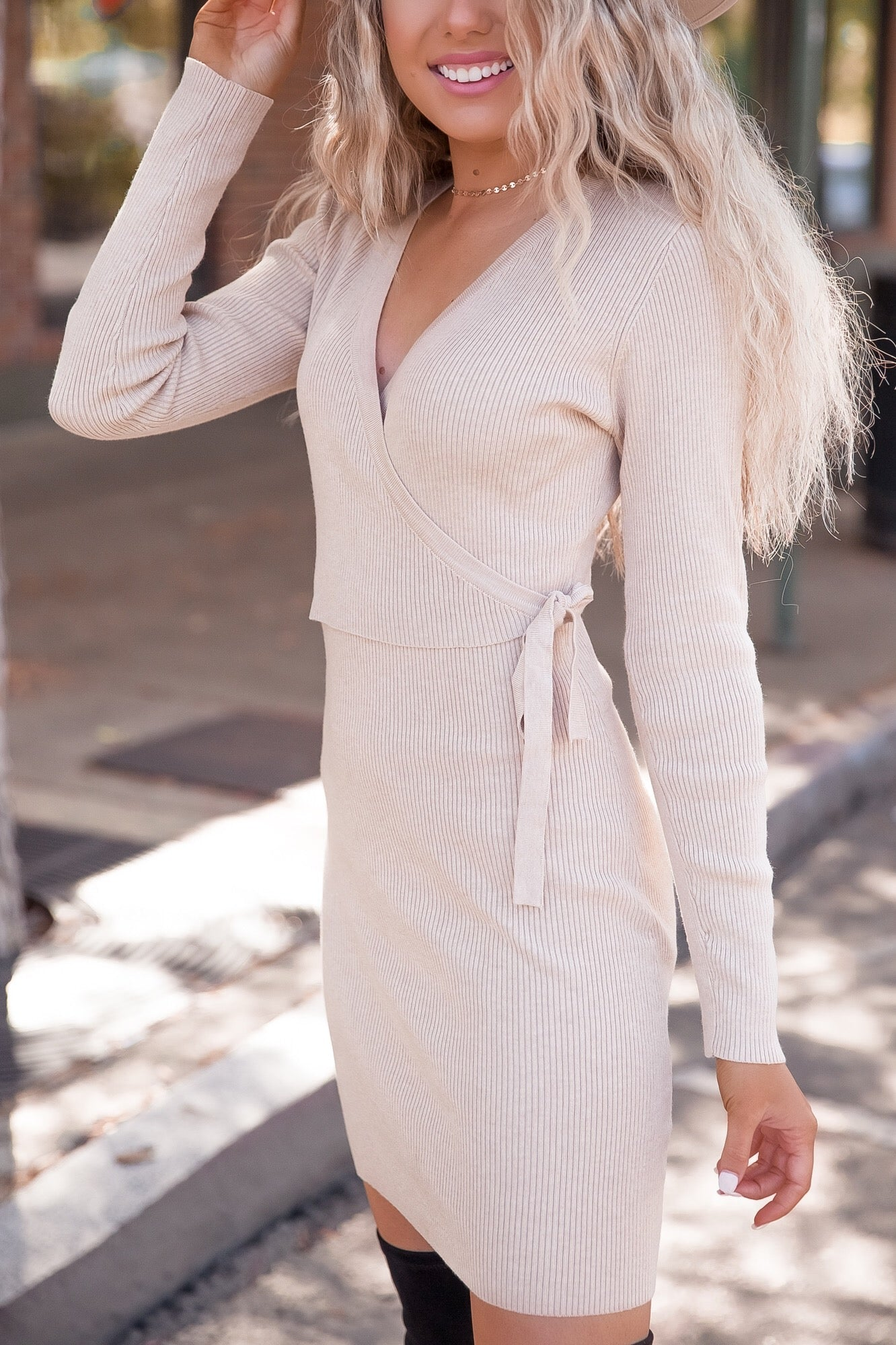 Sandy Wrap Bodycon Knit Dress