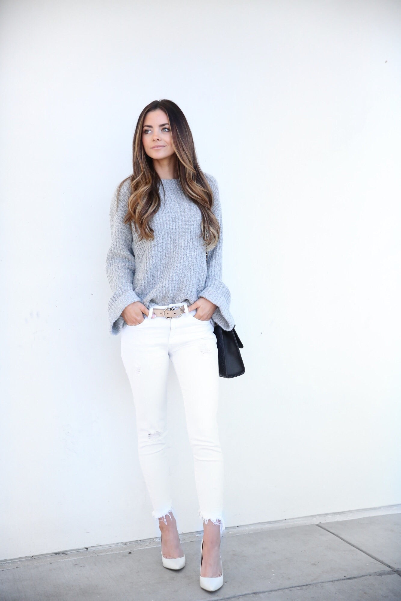 GREY BELL SLEEVE SWEATER - LOST AND WANDER