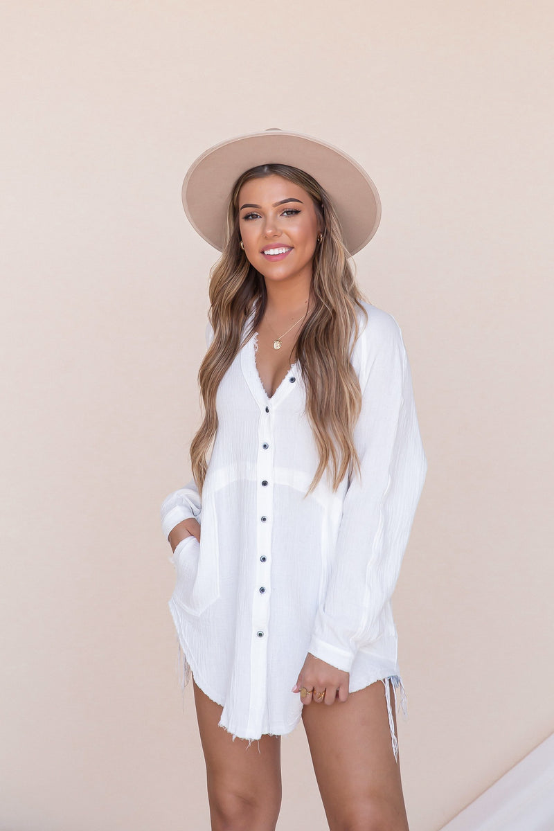 Jayla Cotton Button Down Oversized Shirt | White