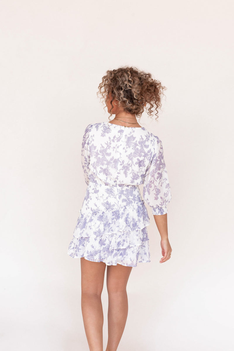 Mia Lavender Floral Mini Dress - LLACIE