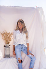 Double Pocket Classic White Blouse