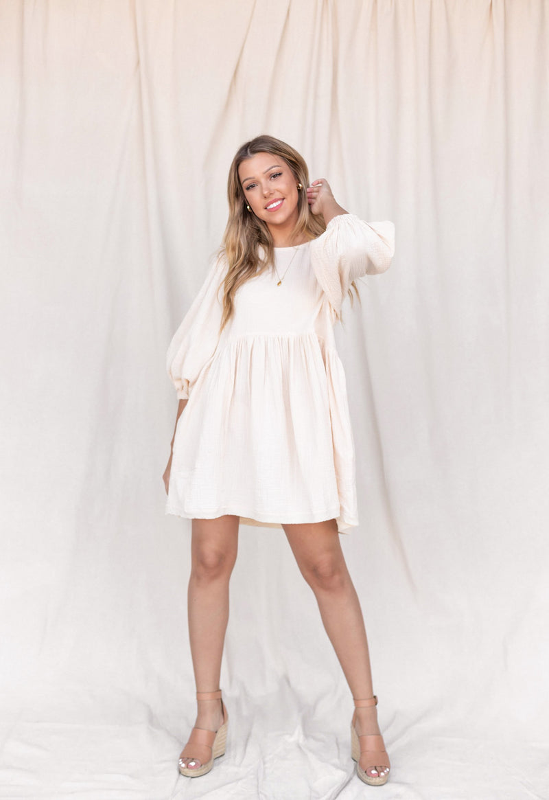 Stella Cream Babydoll Cotton Dress - LLACIE