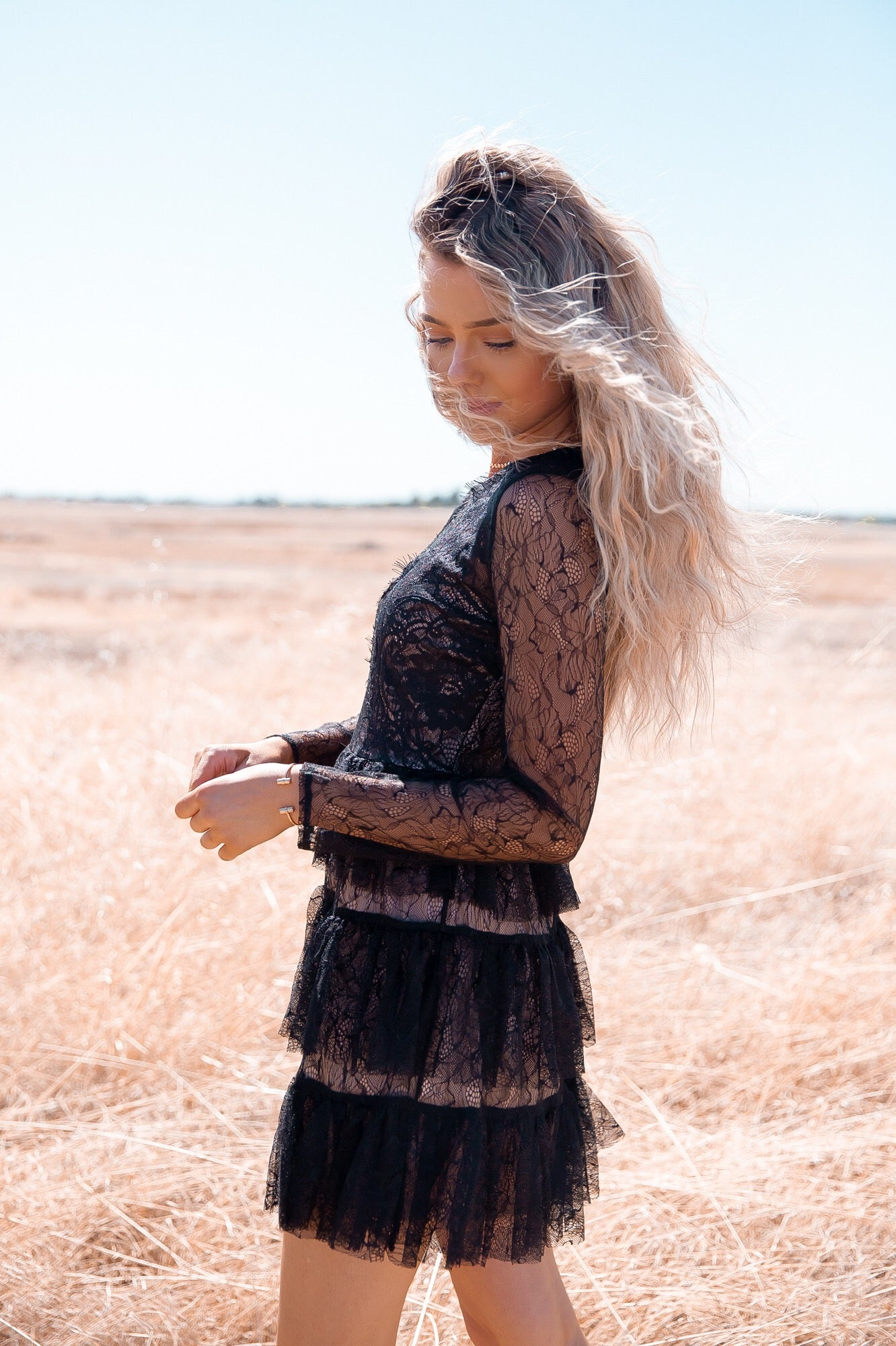 Date Black Ruffle Lace Dress