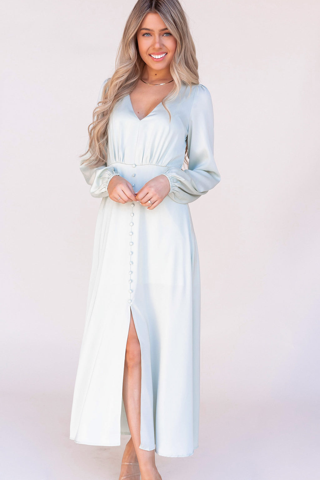 Diana Sage Button Midi Dress - LLACIE