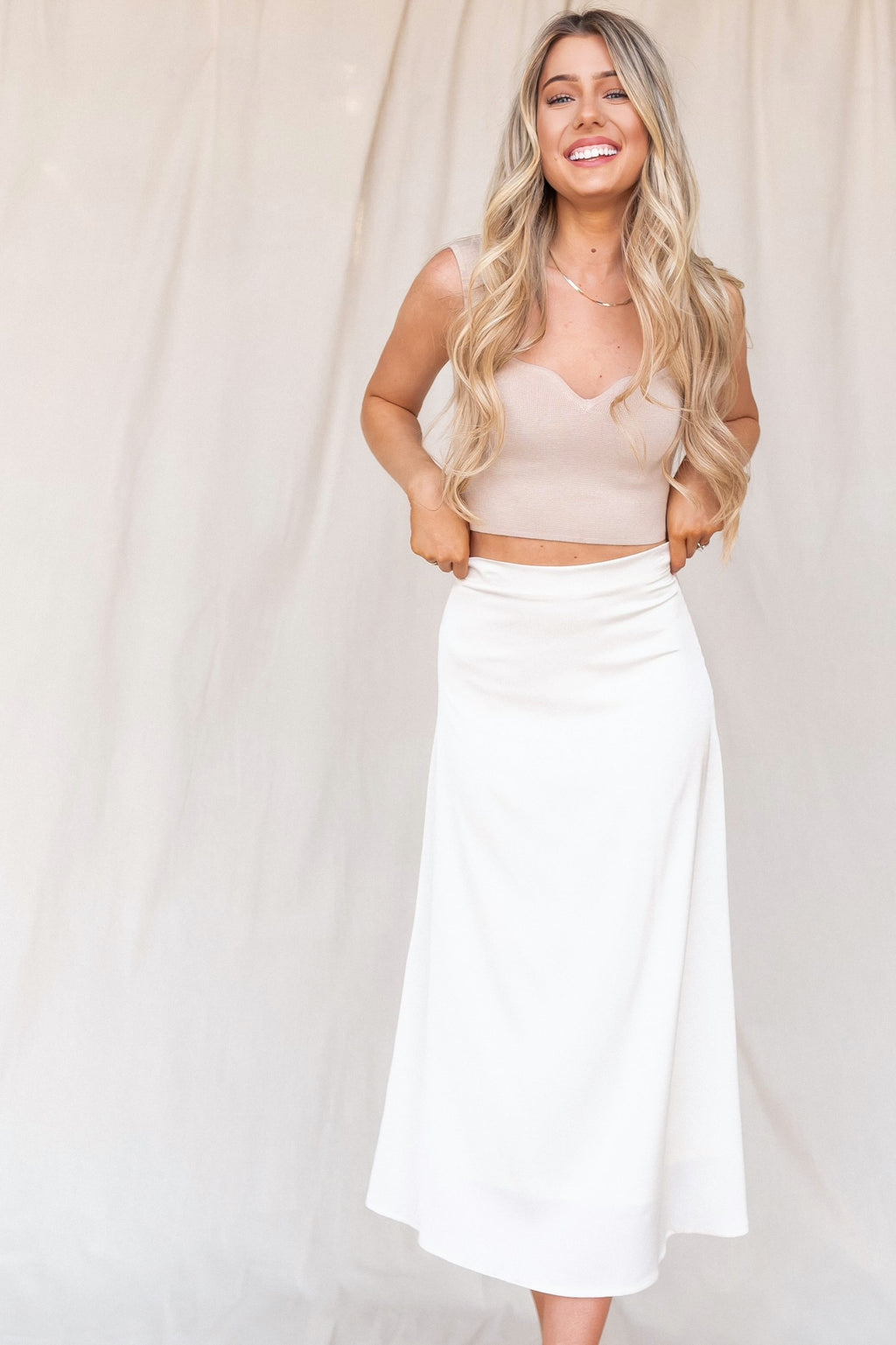 Cream Silky Skirt - LLACIE