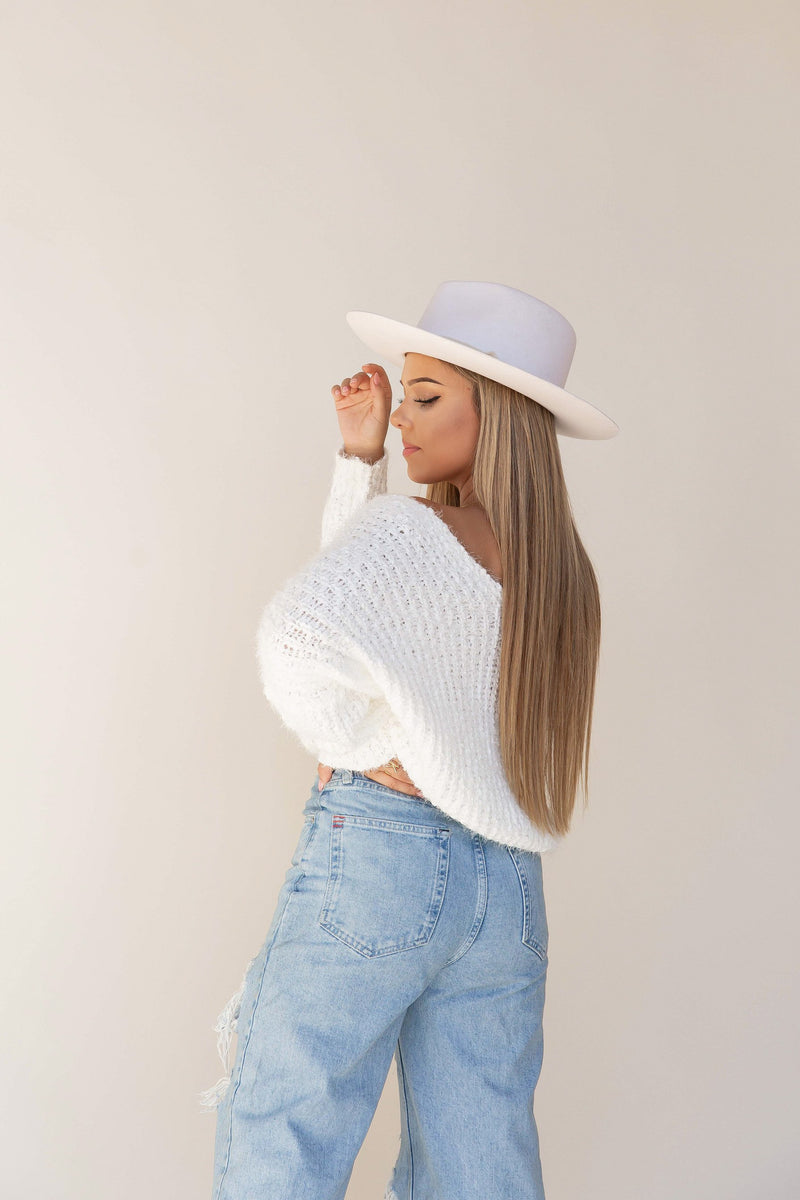 Powder White Cozy Sweater