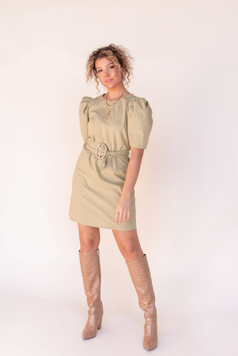 Olive Mini Tortoise Belted Dress - LLACIE