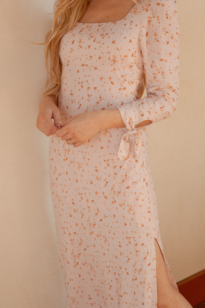 Soft Side Blush Floral Side Slit Dress - LLACIE