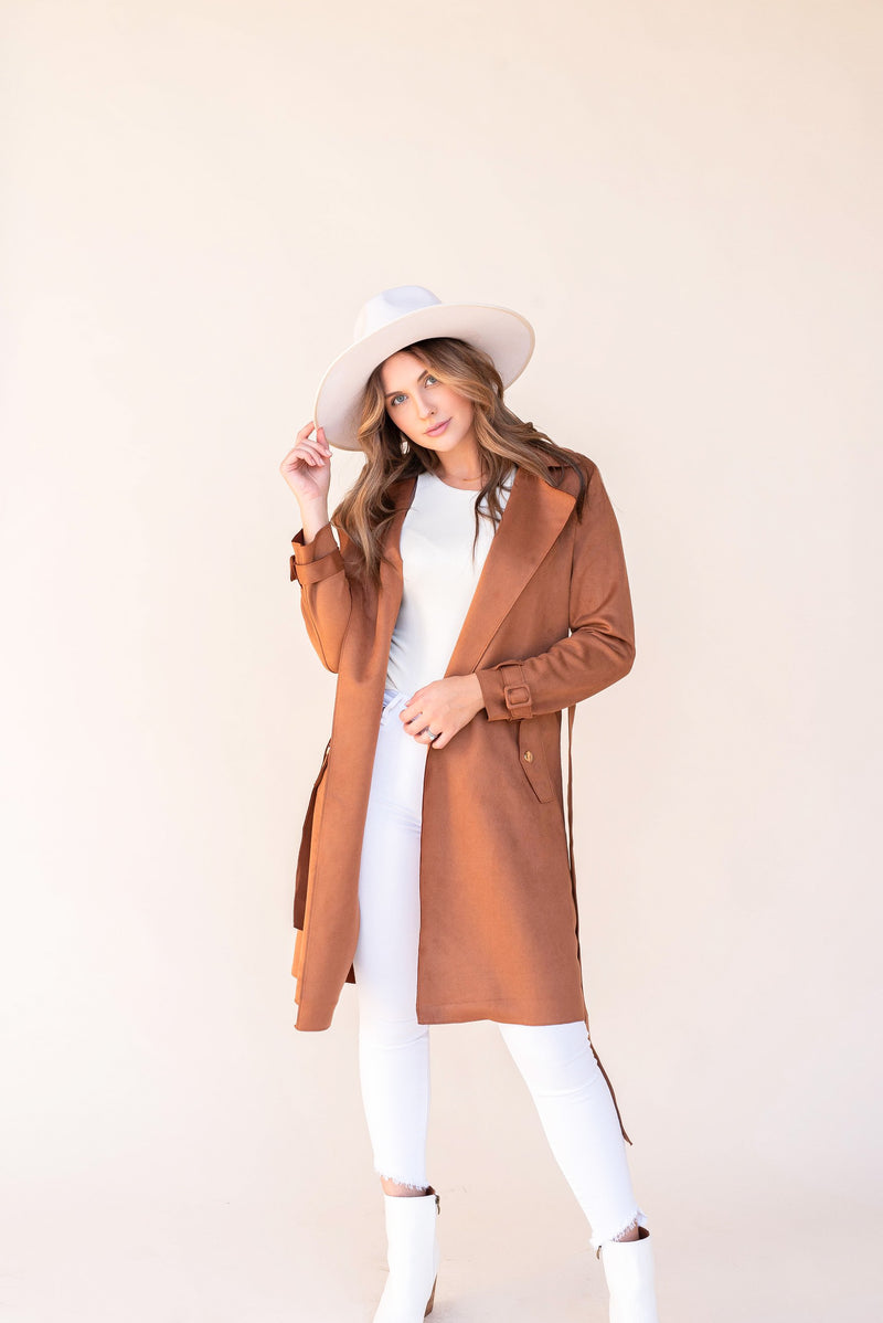 Suede Rust Belted Trench Coat