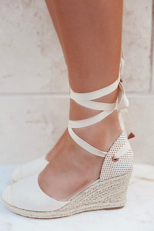 Cream Linen Wedges - llacie