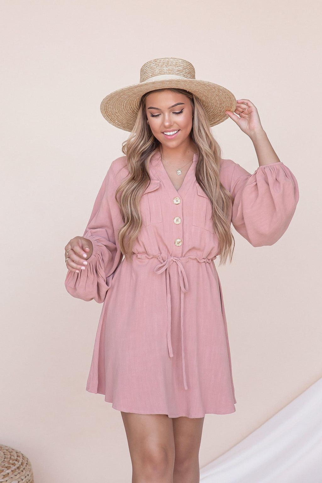 Melody Salmon Linen Button Up Dress