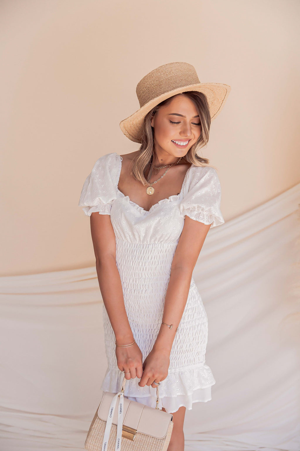 Heavenly Eyelet Mini Dress
