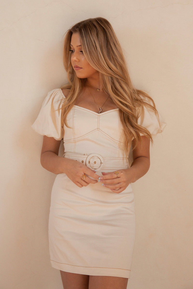 Beige Stitched Belted Dress - LLACIE