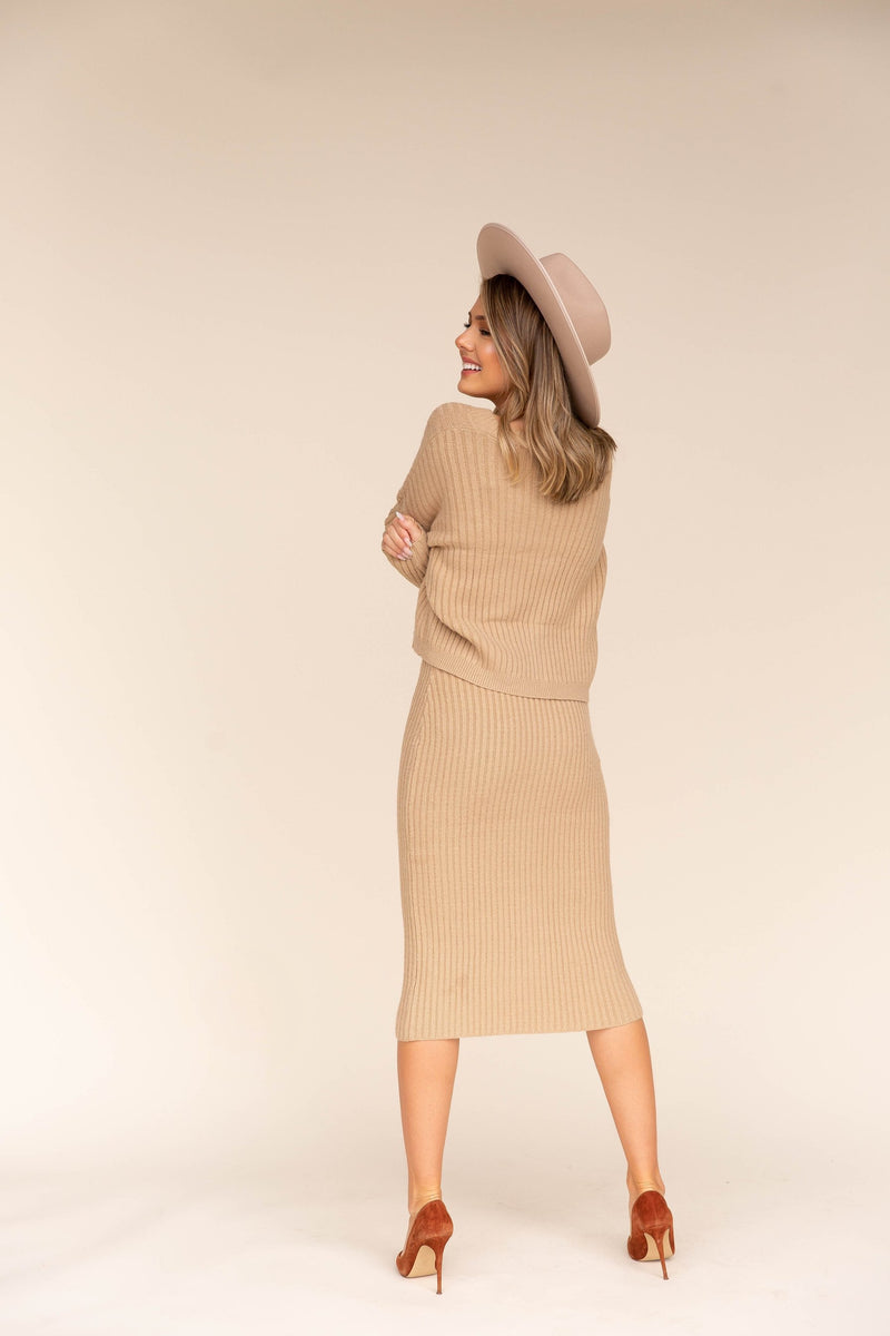 Date Ribbed Cardigan and Skirt Set | LLACIE