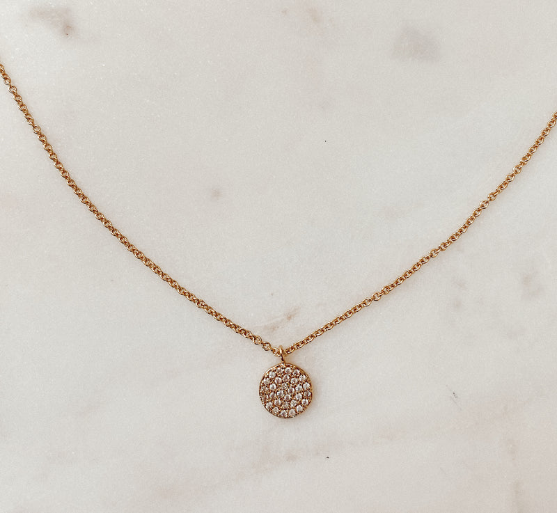 Meghan Round Disk Rhinestone Necklace