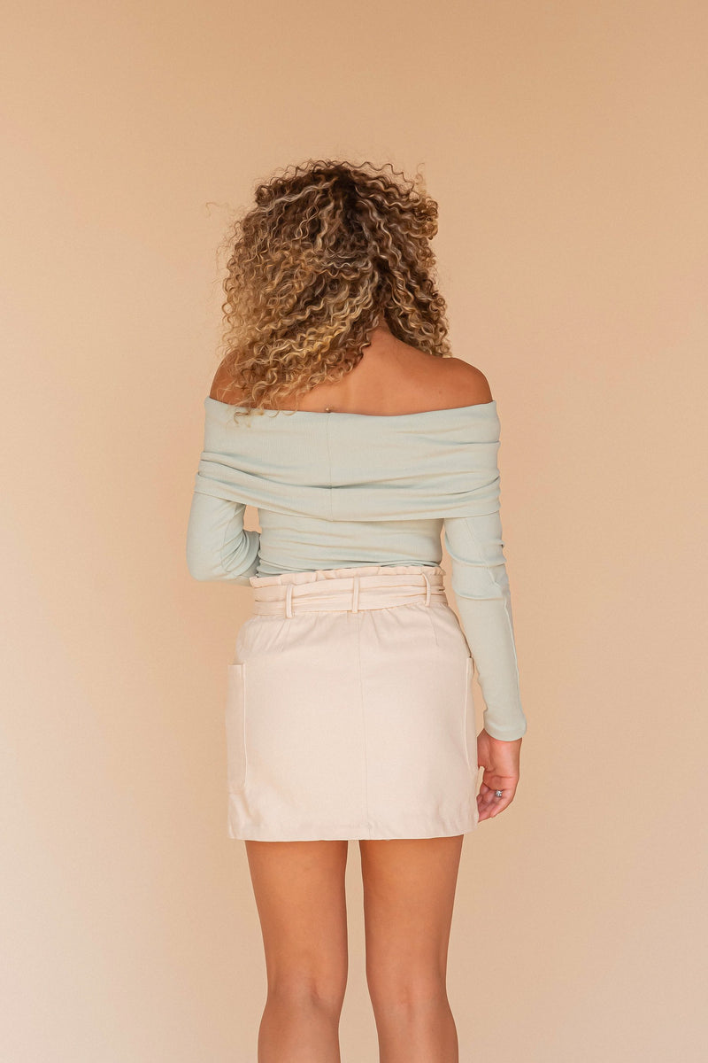 Dusty Sage Ribbed Off Shoulder Knit Top | LLACIE