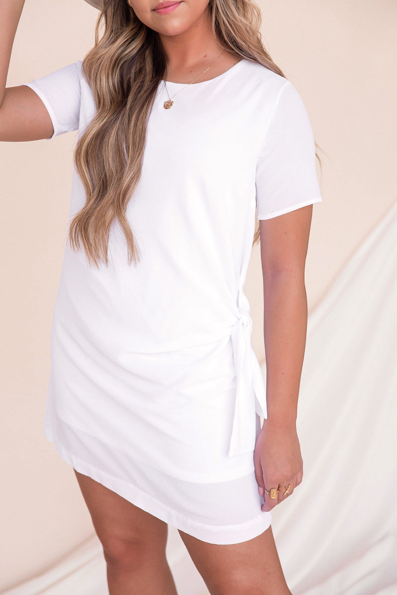 Knot A Worry White Shirt Dress | LLACIE