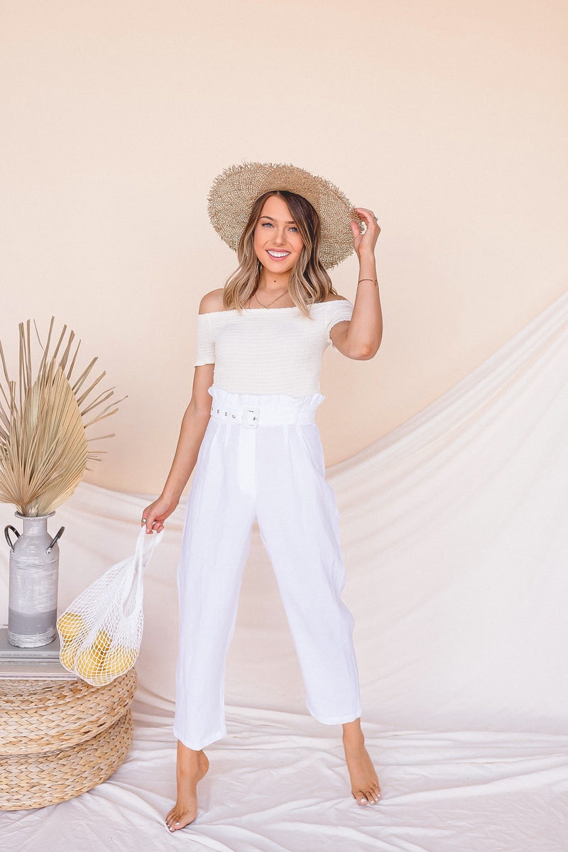 Playing Favorites Belted Linen Pants- FINAL SALE