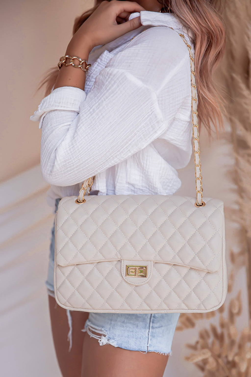 Tan Quilted Bag