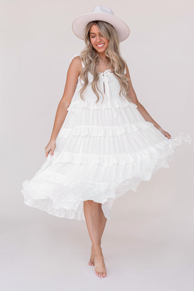 Frankie Ruffle Layered Midi Dress - LLACIE