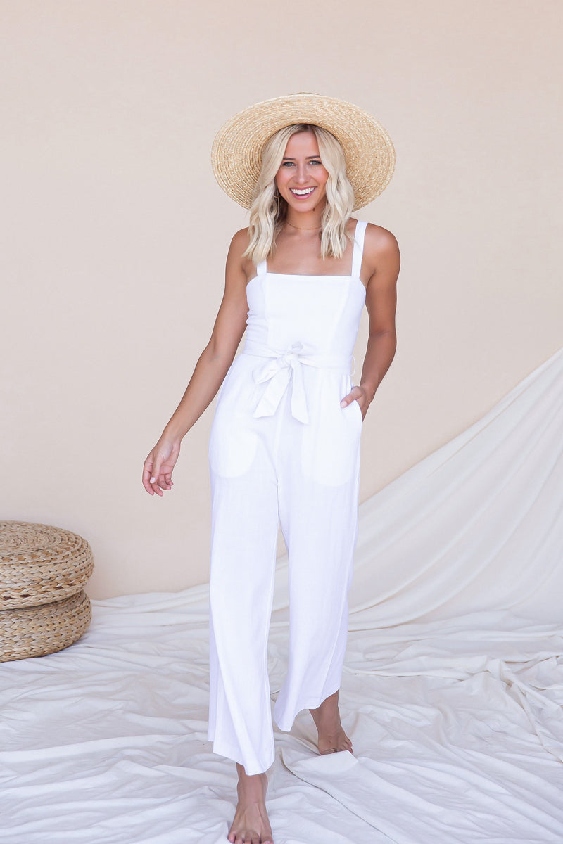 Brunch Cropped Linen Jumpsuit- FINAL SALE