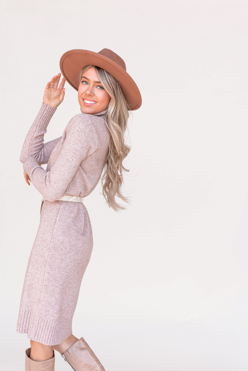 Ember Taupe Turtleneck Sweater Dress - LLACIE