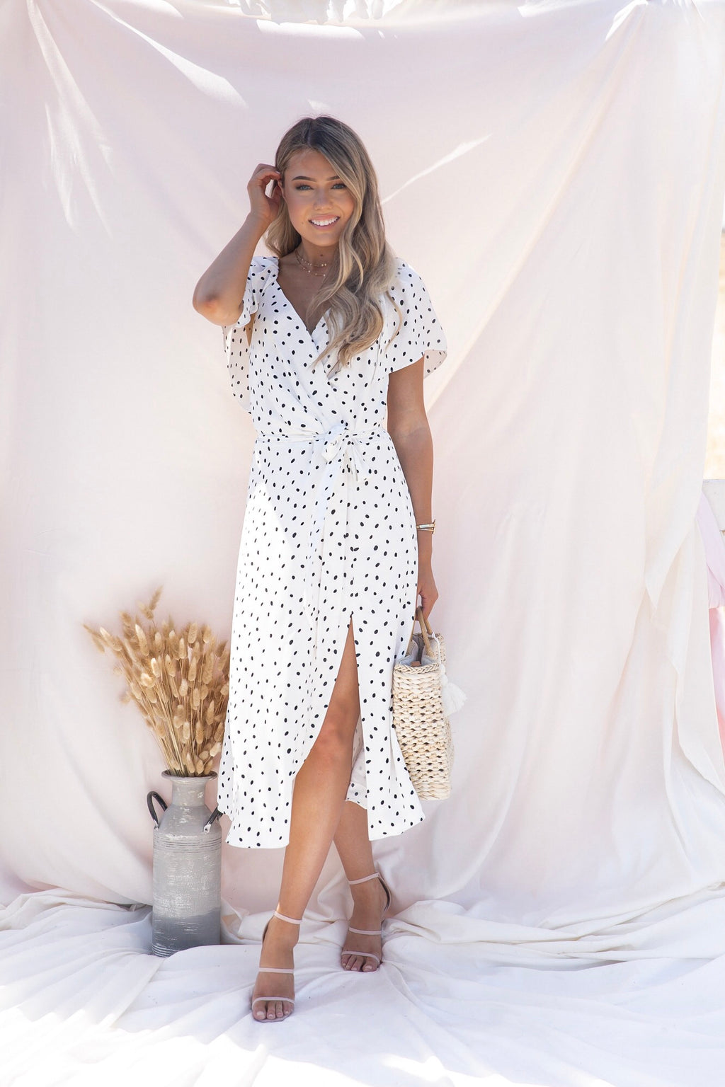 White Slit Polka Dot Dress