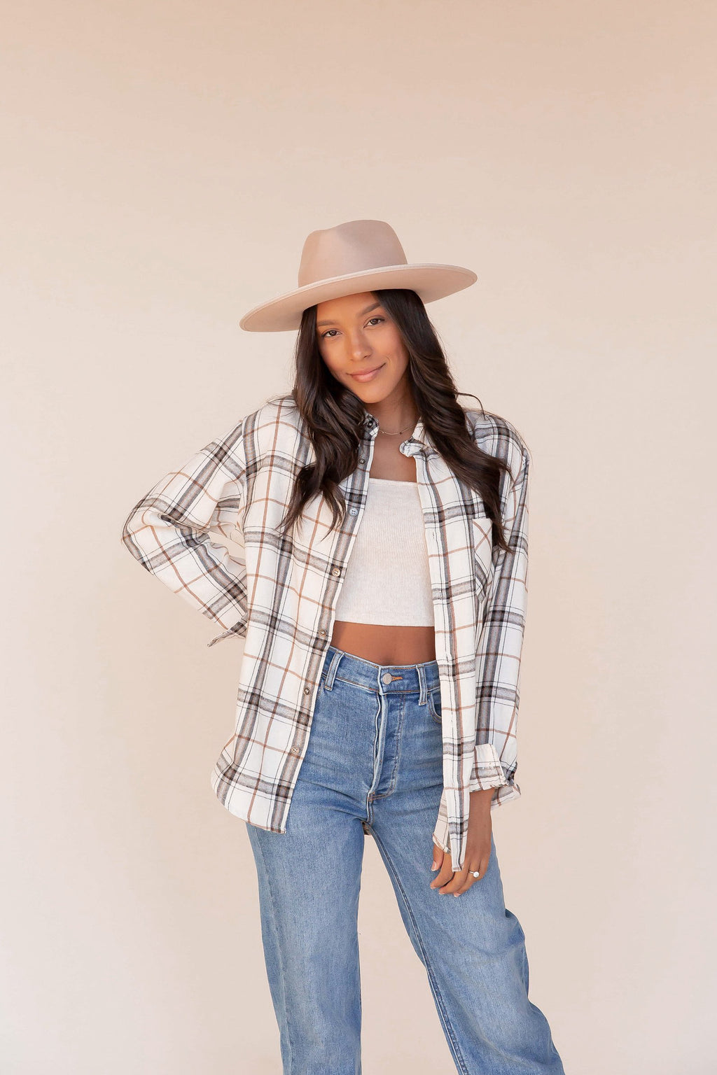 Bone Plaid Button Down Shirt | LLACIE