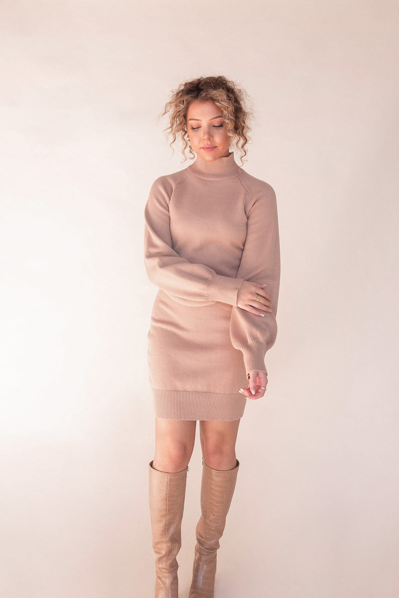 Malia Taupe Knit Dress - LLACIE