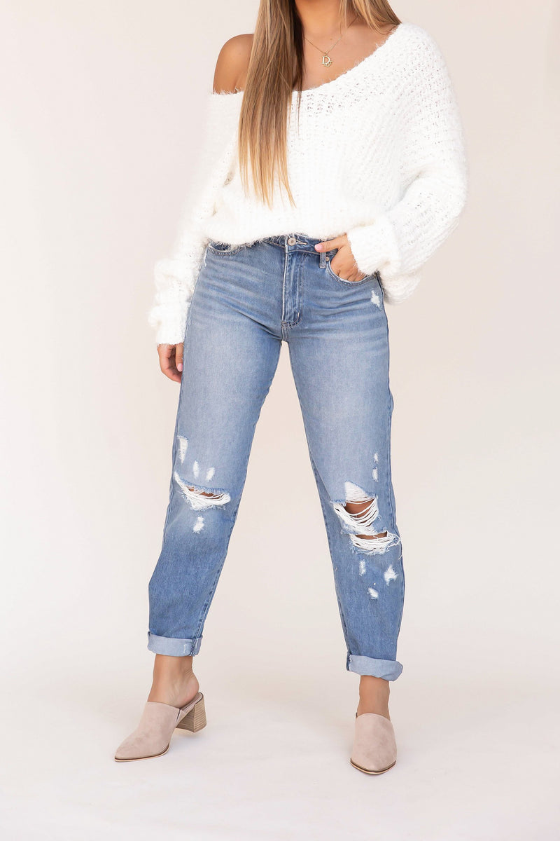 Luca High Rise Distressed Denim